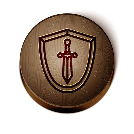 Brown line Medieval shield with sword icon isolated on white background. Wooden circle button. Vector Illustration