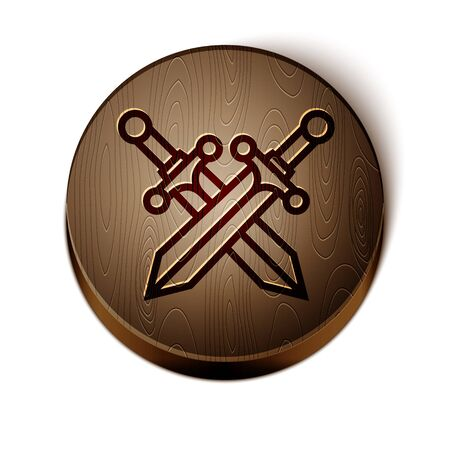 Brown line Crossed medieval sword icon isolated on white background. Wooden circle button. Vector Illustration