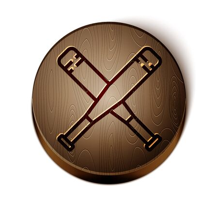 Brown line Crossed baseball bat icon isolated on white background. Wooden circle button. Vector Illustration