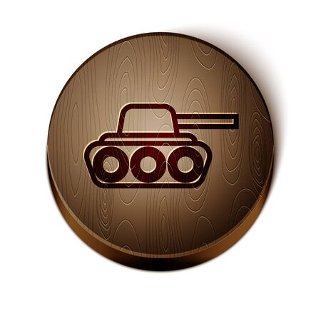 Brown line Military tank icon isolated on white background. Wooden circle button. Vector Illustration Illusztráció