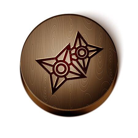 Brown line Japanese ninja shuriken icon isolated on white background. Wooden circle button. Vector Illustration