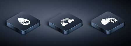 Set Isometric Water drop percentage, Fahrenheit and cloud and Rainbow with clouds icon. Vector