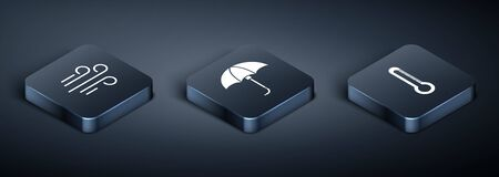 Set Isometric Wind, Thermometer and Classic elegant opened umbrella icon. Vector