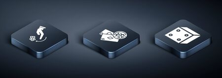 Set Isometric Human hand throwing game dice, Game dice and Playing cards and glass of whiskey with ice cubes icon. Vector