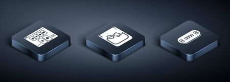 Set Isometric Online poker table game, Poker table and Glass of whiskey and ice cubes icon. Vector