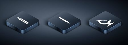 Set Isometric Stationery knife, Microscope and Pen icon. Vector