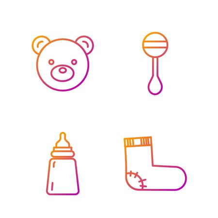 Set line Baby socks clothes, Baby bottle, Teddy bear plush toy and Rattle baby toy. Gradient color icons. Vector