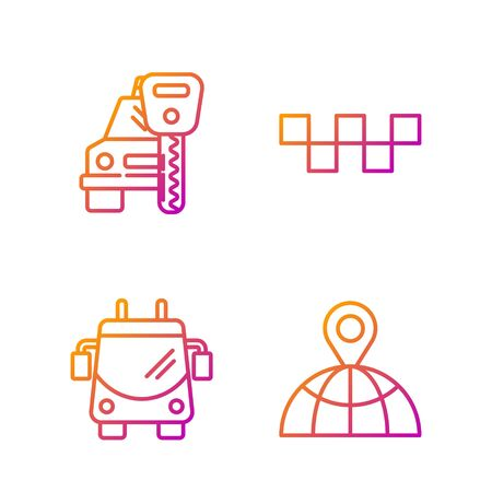 Set line Location on the globe, Trolleybus, Car rental and Taxi car roof. Gradient color icons. Vector