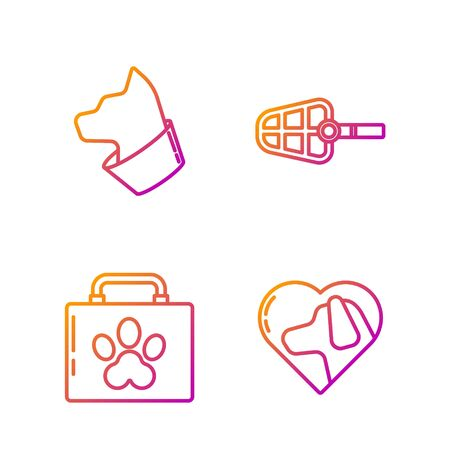 Set line Heart with dog, Pet first aid kit, Cat and Dog muzzle. Gradient color icons. Vector Illustration