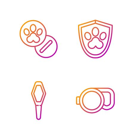 Set line Retractable cord leash, Pets vial medical, Dog and pills and Animal health insurance. Gradient color icons. Vector Illustration