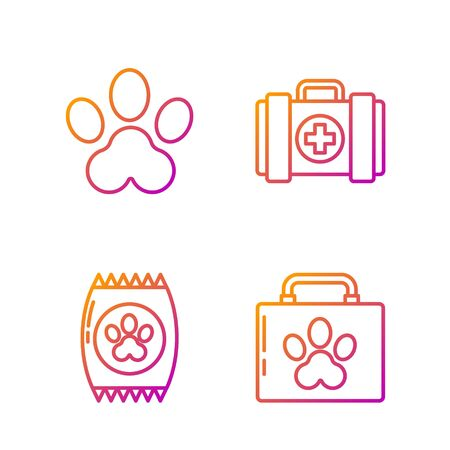 Set line Pet first aid kit, Bag of food for pet, Paw print and Pet first aid kit. Gradient color icons. Vector Illustration