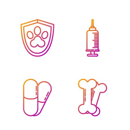 Set line Dog bone, Dog and pills, Animal health insurance and Syringe with pet vaccine. Gradient color icons. Vector Illustration
