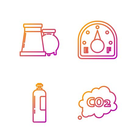 Set line CO2 emissions in cloud, Industrial gas cylinder tank, Oil and gas industrial factory building and Motor gas gauge. Gradient color icons. Vector