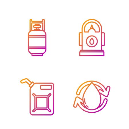 Set line Oil drop, Canister for gasoline, Propane gas tank and Petrol or Gas station. Gradient color icons. Vector Vektorgrafik