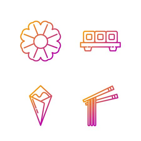 Set line Asian noodles and chopsticks, Temaki roll, Flower and Sushi on cutting board. Gradient color icons. Vector