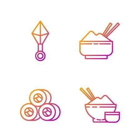 Set line Rice in a bowl with chopstick, Sushi, Japanese ninja shuriken and Rice in a bowl with chopstick. Gradient color icons. Vector
