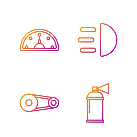 Set line Paint spray can, Timing belt kit, Speedometer and High beam. Gradient color icons. Vector