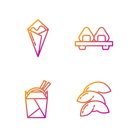 Set line Chinese fortune cookie, Asian noodles in paper box and chopsticks, Temaki roll and Sushi on cutting board. Gradient color icons. Vector