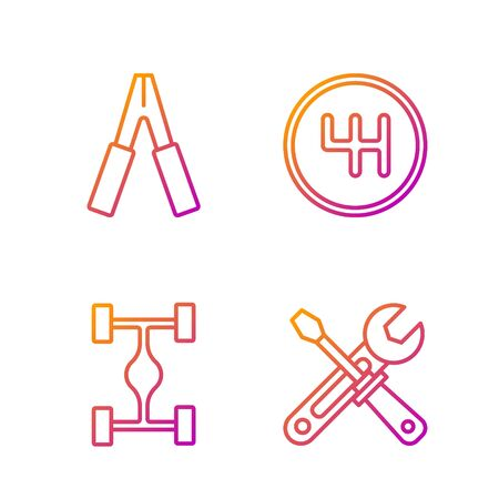 Set line Screwdriver and wrench tools, Chassis car, Car battery jumper power cable and Gear shifter. Gradient color icons. Vector Stock Illustratie
