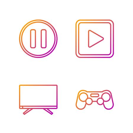 Set line Gamepad, Smart Tv, Pause button and Play in square. Gradient color icons. Vector