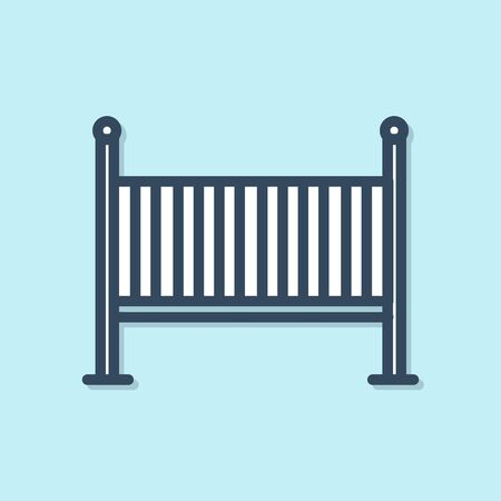 Blue line Baby crib cradle bed icon isolated on blue background. Vector Illustration