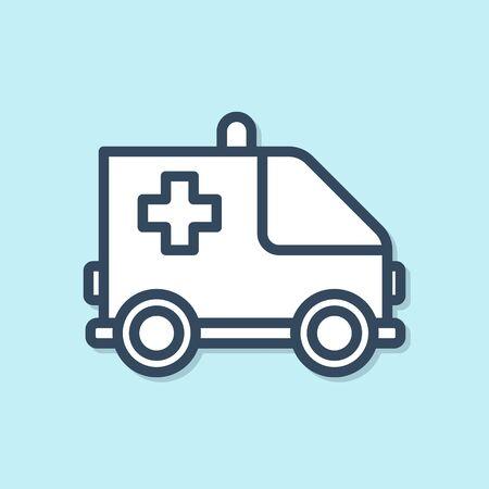 Blue line Ambulance and emergency car icon isolated on blue background. Ambulance vehicle medical evacuation.  Vector Illustration