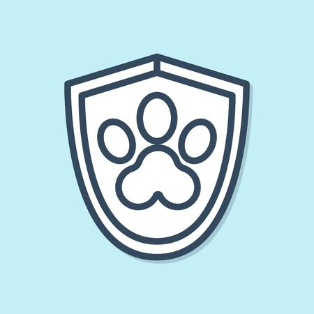 Blue line Animal health insurance icon isolated on blue background. Pet protection icon. Dog or cat paw print.  Vector Illustration