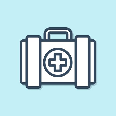 Blue line Pet first aid kit icon isolated on blue background. Dog or cat paw print. Clinic box.  Vector Illustration