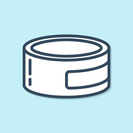 Blue line Canned food icon isolated on blue background. Food for animals. Pet food can.  Vector Illustration