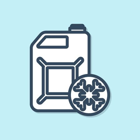 Blue line Antifreeze canister icon isolated on blue background. Auto service. Car repair. Vector Illustration Vector Illustration