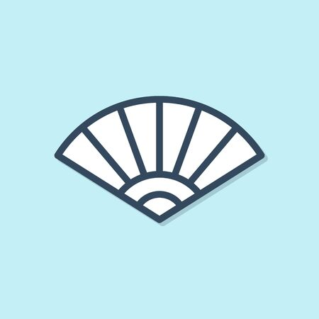 Blue line Traditional paper chinese or japanese folding fan icon isolated on blue background. Vector Illustration