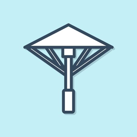 Blue line Traditional Japanese umbrella from the sun icon isolated on blue background. Vector Illustration Иллюстрация