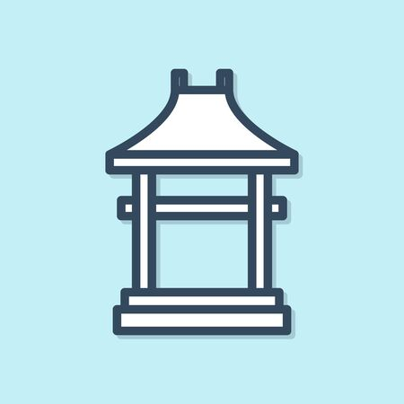 Blue line Japan Gate icon isolated on blue background. Torii gate sign. Japanese traditional classic gate symbol. Vector Illustration Фото со стока - 139548730