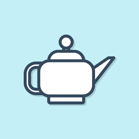 Blue line Traditional Japanese tea ceremony icon isolated on blue background. Teapot with cup. Vector Illustration