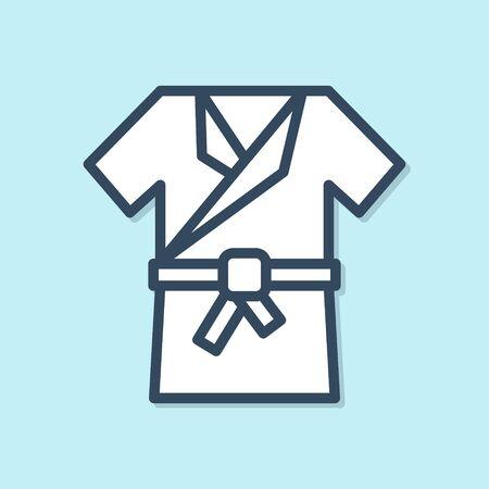 Blue line Japanese traditional costume Kimono icon isolated on blue background. Vector Illustration