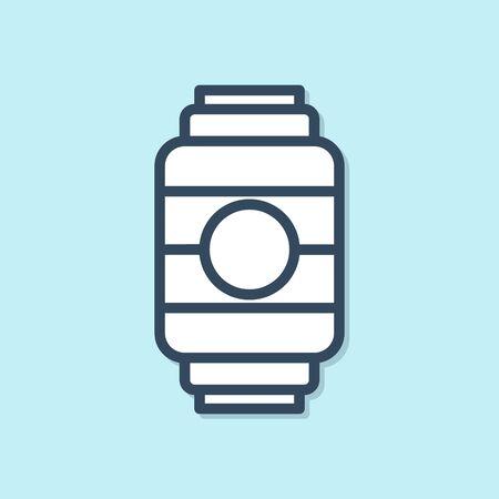 Blue line Japanese paper lantern icon isolated on blue background. Vector Illustration
