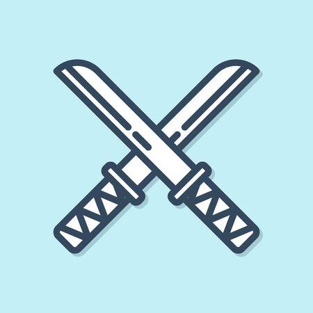 Blue line Traditional Japanese katana icon isolated on blue background. Japanese sword. Vector Illustration