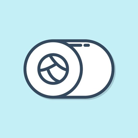 Blue line Sushi icon isolated on blue background. Traditional Japanese food. Vector Illustration