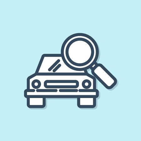 Blue line Car search icon isolated on blue background. Magnifying glass with car. Vector Illustration Illusztráció