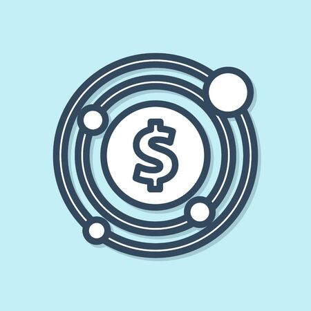 Blue line Target with dollar symbol icon isolated on blue background. Investment target icon. Successful business concept. Cash or Money.  Vector Illustration Иллюстрация