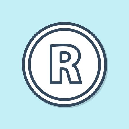 Blue line Registered Trademark icon isolated on blue background. Vector Illustration