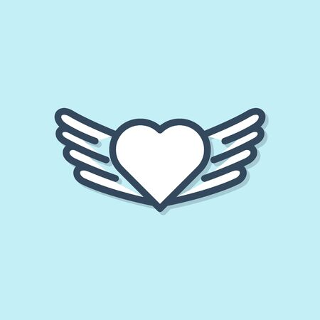 Blue line Heart with wings icon isolated on blue background. Love symbol. Valentines day. Vector Illustration
