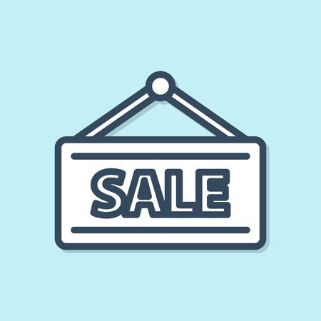 Blue line Hanging sign with text Sale icon isolated on blue background. Signboard with text Sale. Vector Illustration