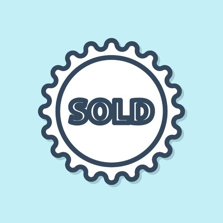 Blue line Sold label icon isolated on blue background. Vector Illustration