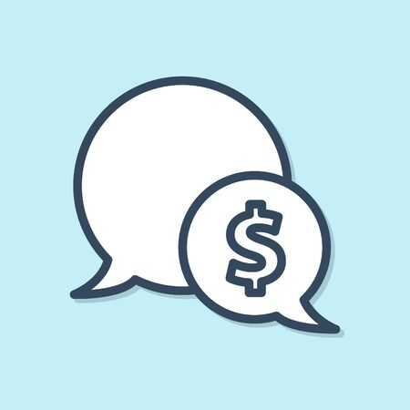 Blue line Speech bubble with dollar icon isolated on blue background. Badge for price. Sale with dollar symbol. Promo tag discount. Vector Illustration