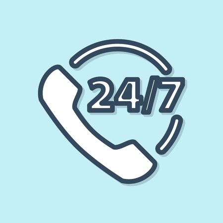 Blue line Telephone 24 hours support icon isolated on blue background. All-day customer support call-center. Full time call services. Vector Illustration Illustration