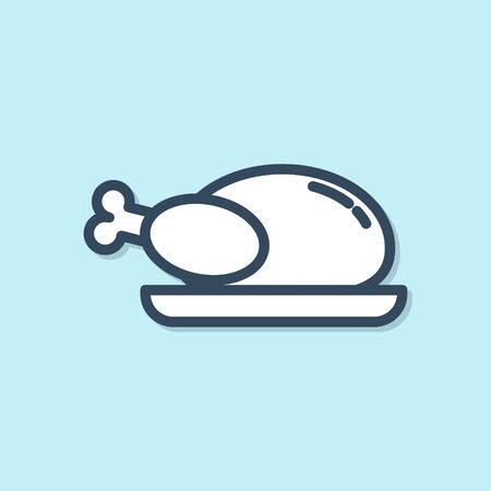 Blue line Roasted turkey or chicken icon isolated on blue background. Vector Illustration Ilustracja