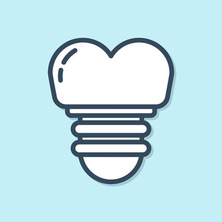 Blue line Dental implant icon isolated on blue background. Vector Illustration