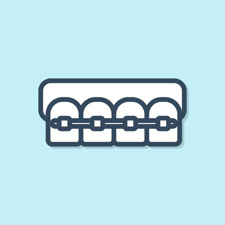 Blue line Teeth with braces icon isolated on blue background. Alignment of bite of teeth, dental row with with braces. Dental concept. Vector Illustration  イラスト・ベクター素材