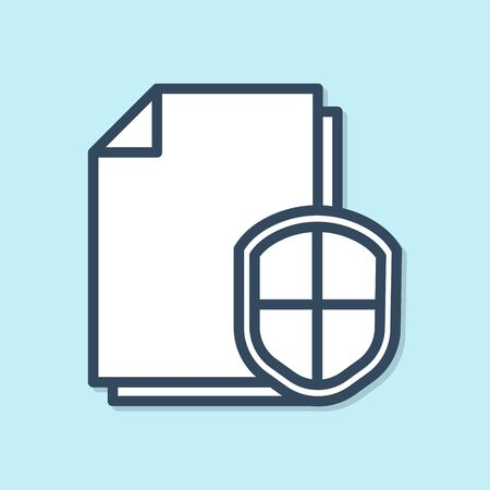 Blue line Document protection concept icon isolated on blue background. Confidential information and privacy idea, secure, guard, shield. Vector Illustration
